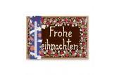 chocri 'Frohe Weihnachten' XXL-Gruß-Schokoladentafel in Holzkiste handbeschriftet und dekoriert mit Pistazien, Haselnusskrokant, Johannisbeeren und Kokos, verpackt