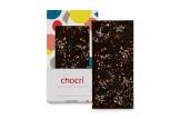 chocri Zartbitterschokoladentafel 'Kirschfeuerwerk' mit Sauerkirschen, Echtgoldpulver und Chilliflocken in der Verpackung und einzelnd davor stehend