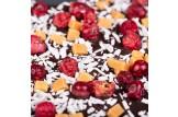 chocri Zartbitterschokoladentafel in Herzform mit Kokosraspeln, Johannisbeeren und Karamell Nahaufnahme, Detailansicht