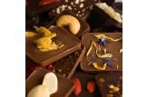 chocri vegane Schokolade 'Vegolade' und Zartbitterschokoladentafeln Weltreise 'Vegan' mit Zutaten wie Blütenmix und Erdnüsse Nahaufnahme, Detailansicht
