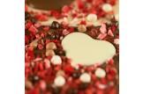 chocri Vollmilch- und weiße Schokoladentafel mit Schokoherzen, Erdbeerstücken und Schokokugeln Nahaufnahme, Detailansicht