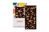 chocri milchfreie Zartbitterschokoladentafel 'Zartbitter exotisch' mit Goji-Beeren und Ingwer in der Verpackung und einzelnd davor stehend