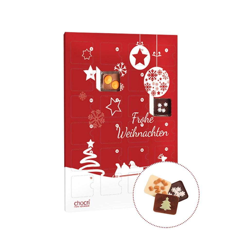 Köstlichsüsses - chocri Individueller Adventskalender mit 24 Mini Schokoladentafeln - Onlineshop Chocri