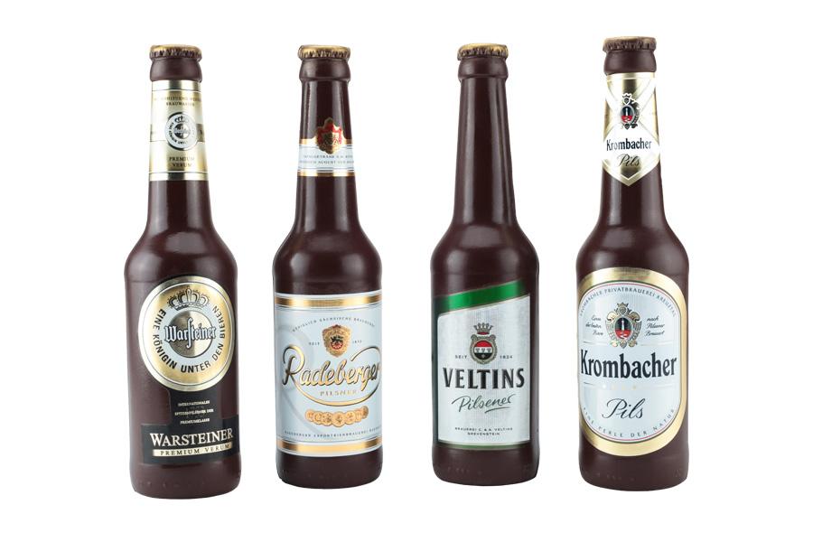 Überraschungs Bierflasche aus Zartbitter Schokolade
