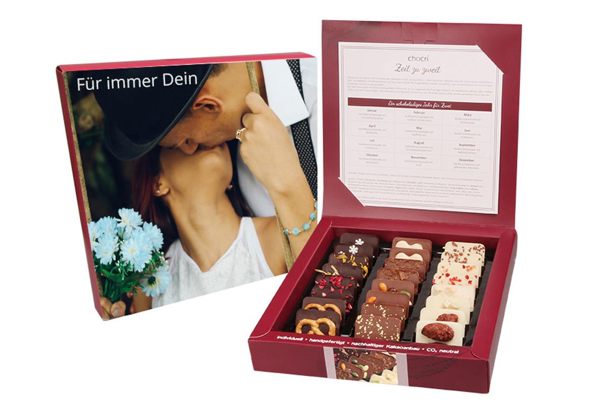 Zeit zu zweit Mini Schokoladen Tafeln mit individueller Verpackung