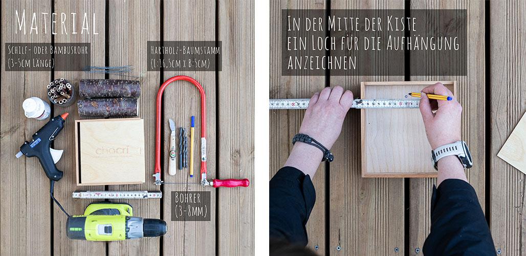 Anleitung Insektenhotel mit chocri Holzbox - Material und Werkzeuge