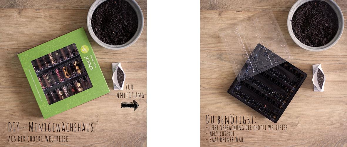 chocri recycling Anleitung Mini Gewächshaus mit veganer Weltreise - Material und Werkzeuge