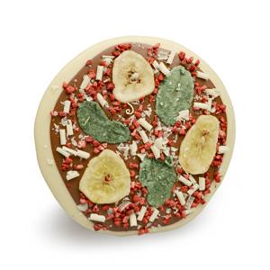 Pizza-Schokolade gegossen als Freiform in mehreren Schritten aus weißer Schoki und Vollmilch mit Dekor