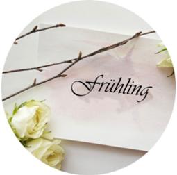 Frühling als Schriftzug auf weißem Papier umrandet mit weißen Rosen und Ästen © Pexels