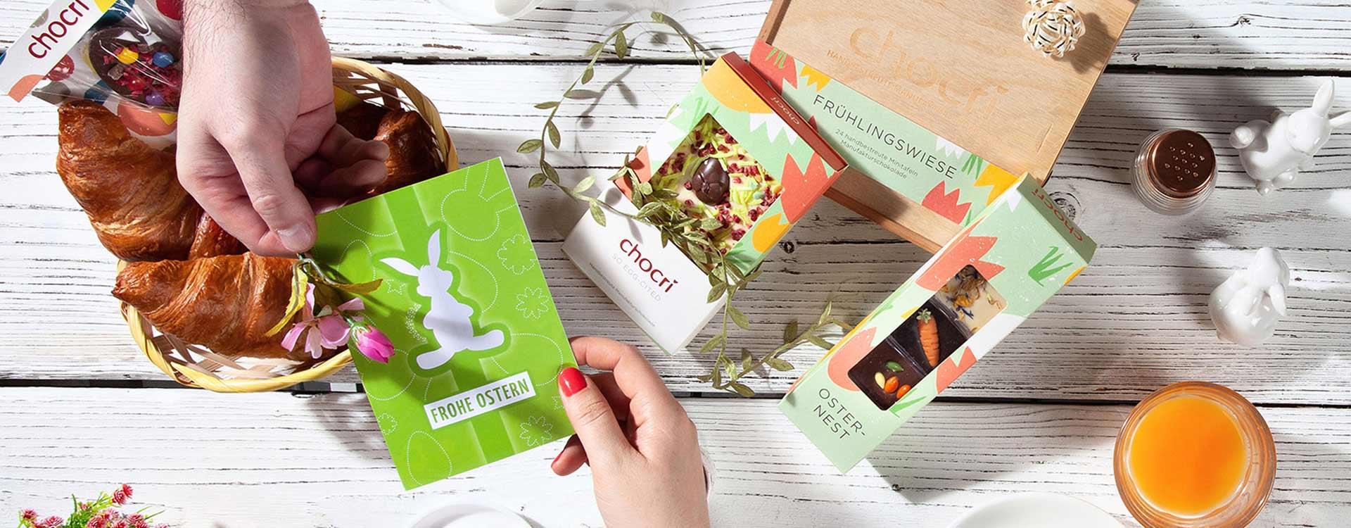 Zu Ostern feiern Frühling, Gottes Sohn und der gute Geschmack jedes Jahr wieder Auferstehung: Wir von chocri feiern mit unserer leckeren Schokolade gerne mit!