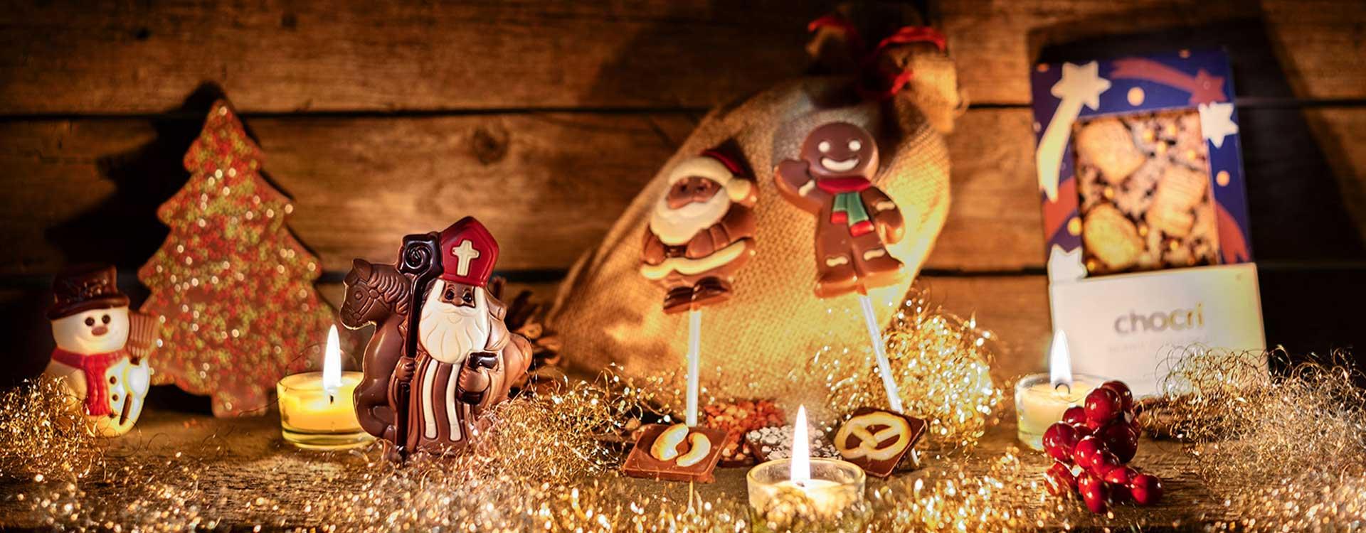 Nikolaus köstliche Hohlfigur aus Vollmilchschokolade von chocri und seine Freunde zu Weihnachten
