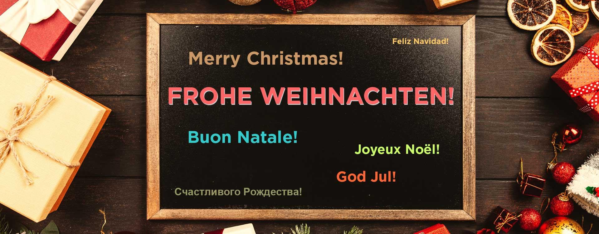 Die schönsten Weihnachtsgrüße und Geschenke in jeder Sprache haben fast immer was mit leckerer Schokolade zu tun