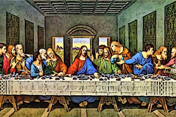 Gründonnerstag: Jesus beim letzten Abendmahl mit den 12 Aposteln, seinen Jüngern