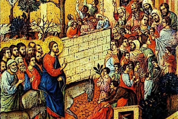 Am Sonntag vor Beginn der Karwoche: Auf einem Esel zieht Jesus am Palmsonntag in Jerusalem ein
