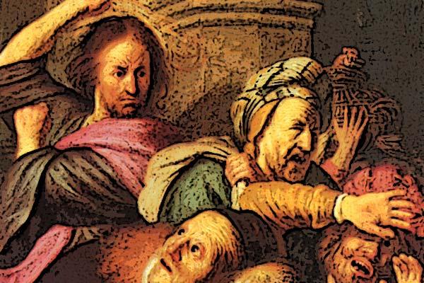 Tempelreinigung: Jesus vertreibt die Händler aus dem Tempel, seiner Kirche