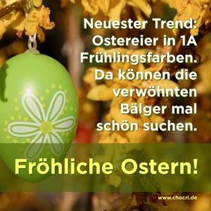 Neuester Trend: Ostereier in 1A Frühlingsfarben. Da können die verwöhnten Bälger mal schön suchen. Fröhliche Ostern!