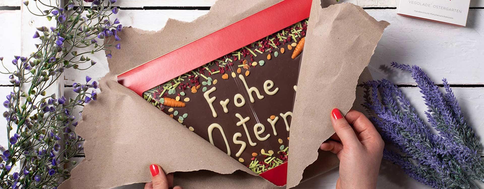 Liebe Ostergrüße wünscht man am besten mit leckerer Schokolade, am allerbesten mit echter Osterschokolade