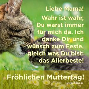 Muttertagssprüche: Liebe Mama! Wahr ist wahr, Du warst immer für mich da. Ich danke Dir und wünsch zum Feste, gleich was Du bist: Das Allerbeste! Fröhlichen Muttertag!
