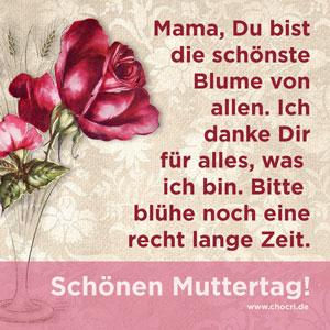 Muttertagssprüche: Mama, Du bist die schönste Blume von allen. Ich danke Dir für alles, was ich bin. Bitte blühe noch eine recht lange Zeit. Schönen Muttertag!