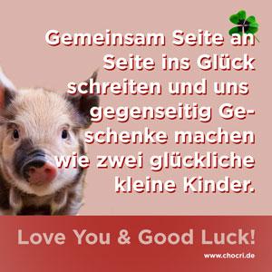 Glückssprüche mit Glücksschwein: Gemeinsam Seite an Seite ins Glück schreiten und uns gegenseitig Geschenke machen wie zwei glückliche kleine Kinder. Love You & Good Luck!
