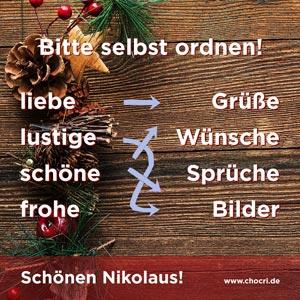 Grüße zum Nikolaus: Bitte selbst ordnen! liebe Grüße, lustige Wünsche, schöne Sprüche, frohe Bilder. Schönen Nikolaus!