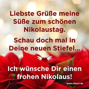 Grüße zum Nikolaus: Liebste Grüße meine Süße zum schönen Nikolaustag. Schau doch mal in Deine neuen Stiefel... Ich wünsche Dir einen frohen Nikolaus!